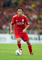 KUALA LUMPUR, MALAYSIA - Saturday, July 16, 2011: Liverpool's Alberto Aquilani in action against a Malaysia XI at the National Stadium Bukit Jalil in Kuala Lumpur on day six of the club's Asia Tour. (Photo by David Rawcliffe/Propaganda)