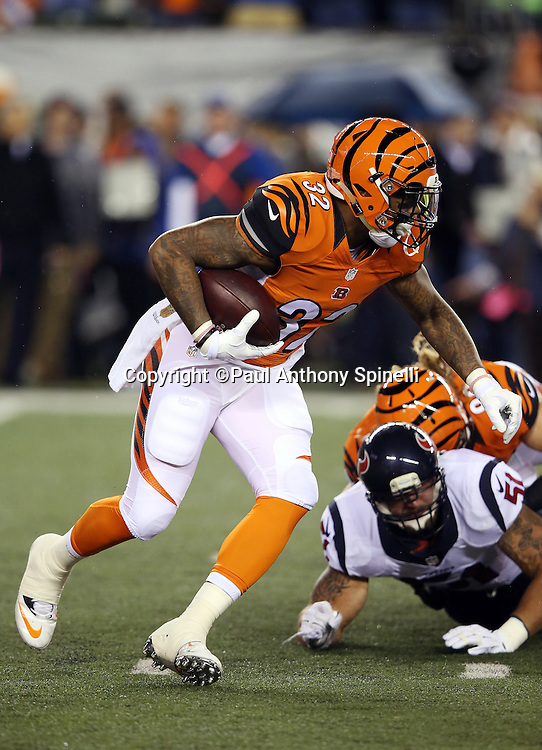 Cincinnati Bengals running back Jeremy Hill (32) runs the ball in the first quarter during the 2015 week 10 regular season NFL football game against the Houston Texans on Monday, Nov. 16, 2015 in Cincinnati. The Texans won the game 10-6. (©Paul Anthony Spinelli)
