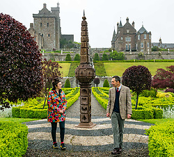 Pictured: Scotland's oldest obelisk sundial resinstated. Drummond Castle, Perthshire, Scotland, United Kingdom, 24 June 2019. On a typically dreich Scottihs day, Scotland's oldest Obelisk Sundial, dating from 1630 and which featured in Sony's Outlander TV Series,  is reinstated as the centrepiece of Drummond Castle Gardens in after 2 years of restoration by Graciela Ainsworth Sculpture Conservation.<br /> Pictured: <br /> Graciela Ainsworth, Sculpture Conservator<br /> and Michael Aldridge, Drummond Castle Estate Manager<br /> <br /> Sally Anderson | EdinburghElitemedia.co.uk