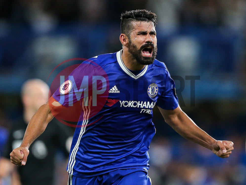 Diego Costa of Chelsea celebrates scoring a goal to make it 2-1 - Rogan Thomson/JMP - 15/08/2016 - FOOTBALL - Stamford Bridge Stadium - London, England - Chelsea v West Ham United - Premier League Opening Weekend.