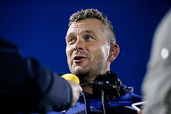 Bristol Rugby First Team Coach Sean Holley is interviewed by the gathered media after Bristol Rugby win 13-28 to take a 15 point lead into the second leg of the Final - Mandatory byline: Rogan Thomson/JMP - 18/05/2016 - RUGBY UNION - Castle Park - Doncaster, England - Doncaster Knights v Bristol Rugby - Greene King IPA Championship Play Off FINAL 1st Leg.