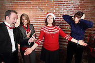 "(from left) Mike Webb as Yule Cazonet, Susan Robert as Harmony Joy Warble, Tamra Francis as Melody Madrigal and Jene Rebbin Shaw as Merry Dischord during Mayhem & Mystery's rehearsal of ""Caroling Catastrophe"" at the Spaghetti Warehouse in downtown Dayton, Sunday, November 2, 2014."