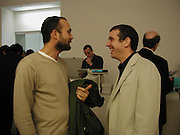 Max Wigram and Martin Creed. private view for the Turner Prize at Tate Britain. 6 November 2001. © Copyright Photograph by Dafydd Jones 66 Stockwell Park Rd. London SW9 0DA Tel 020 7733 0108 www.dafjones.com