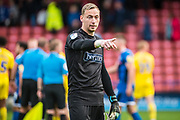 Ryan Allsop of Wycombe Wanderers points to the fans after the EFL Sky Bet League 1 match between Rochdale and Wycombe Wanderers at the Crown Oil Arena, Rochdale, England on 28 September 2019.