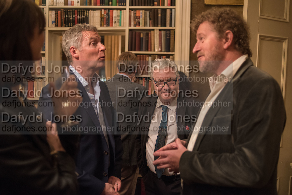 VERONICA FAULKS; RORY BREMNER; JOHN SESSIONS; SEBASTIAN FAULKS; , The Walter Scott Prize for Historical Fiction 2015 - The Duke of Buccleuch hosts party to for the shortlist announcement. <br /> The winner is announced at the Borders Book Festival in Scotland in June.John Murray's Historic Rooms, 50 Albemarle Street, London, 24 March 2015.
