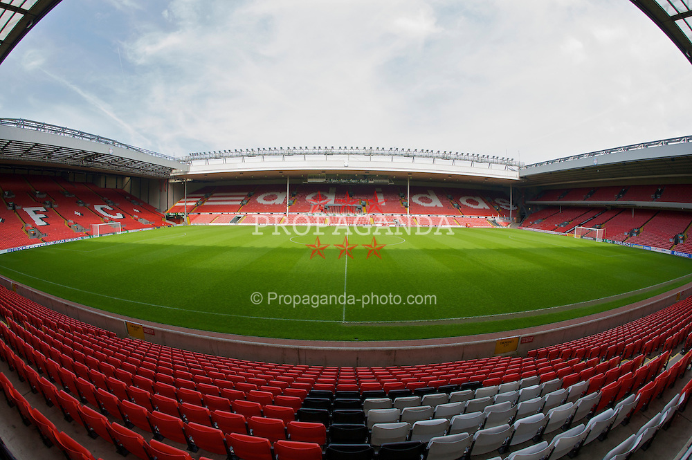 The view of the Anfield pitch from the Kemlyn Road Stand, centre of Block KK.