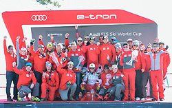 17.03.2019, Soldeu, AND, FIS Weltcup Ski Alpin, Siegerehrung, Nationenwertung, im Bild Mannschaftsfoto Team Österreich mit Gesamtweltcup Sieger Marcel Hirscher, Nationencup Sieger Prof. Peter Schröcksnadel (ÖSV Präsident), Andreas Puelacher (Sportlicher Leiter ÖSV Ski Alpin Herren), Mag. Jürgen Kriechbaum (Sportlicher Leiter ÖSV Ski Alpin Damen), Hans Pum (ÖSV Sportdirektor), Nicole Schmiedhofer mit der kleinen Kristallkugel, Manuel Feller // Team photo Austria with Overall World Cup winner Marcel Hirscher with his crystal globes Nations Cup winner Peter Schroecksnadel Austrian Ski Association President Andreas Puelacher Austrian Ski Association head Coach alpine Men's Juergen Kriechbaum Austrian Ski Association head Coach alpine Ladiese Hans Pum Austrian Ski Association sporting director Nicole Schmiedhofer with the small crystal globe for the ladies downhill Manuel Feller during the Nations Cup winner Ceremony for the Worlcup of FIS Ski Alpine World Cup finals. Soldeu, Andorra on 2019/03/17. EXPA Pictures © 2019, PhotoCredit: EXPA/ Erich Spiess