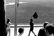 705/4-2 (16)...  Tom Miller waves the Black Flag of Anarchy at the Guard.