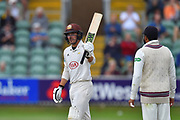 50 for Rory Burns of Surrey - Rory Burns of Surrey celebrates scoring a half century during the opening day of the Specsavers County Champ Div 1 match between Somerset County Cricket Club and Surrey County Cricket Club at the Cooper Associates County Ground, Taunton, United Kingdom on 18 September 2018.