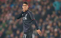 STOKE-ON-TRENT, ENGLAND - Tuesday, January 5, 2016: Liverpool's Roberto Firmino looks dejected after missing a chance against Stoke City during the Football League Cup Semi-Final 1st Leg match at the Britannia Stadium. (Pic by David Rawcliffe/Propaganda)