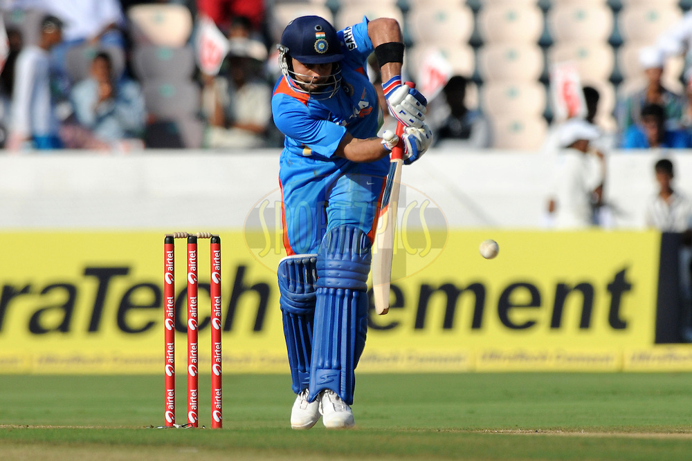 Virat Kholi of India bats during the first One Day International ( ODI ) match between India and England held at the Rajiv Gandhi International Stadium, Hyderabad on the 14th October 2011..Photo by Pal Pillai/BCCI/SPORTZPICS