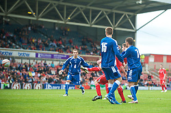 WREXHAM, WALES - Saturday, October 10, 2009: Wales' Ched Evans scores his side's second goal during the UEFA Under-21 Championship Qualifying Round Group 3 match against Bosnia-Herzegovina at the Racecourse Ground. (Pic by Chris Brunskill/Propaganda)