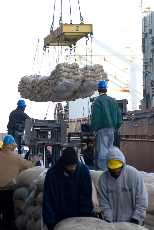 Longshoremen, working for Dependable Distribution Services,.unload a ship full of cocoa beans from Africa at Philadelphia's pier 84. This is Philadelphia's dedicated terminal for cocoa beans.