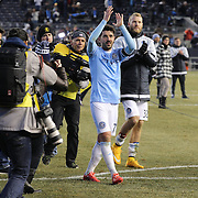 David Villa, NYCFC, salutes the crowd at the end of the game after the New York City FC v New England Revolution, inaugural MSL football match at Yankee Stadium, The Bronx, New York,  USA. 15th March 2015. Photo Tim Clayton