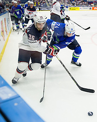 Mark Arcobello of USA vs Rok Ticar of Slovenia during Ice Hockey match between Slovenia and USA at Day 10 in Group B of 2015 IIHF World Championship, on May 10, 2015 in CEZ Arena, Ostrava, Czech Republic. Photo by Vid Ponikvar / Sportida