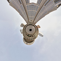 Afternoon Little Planet View of Citizen's Plaza and the Metropolitan Government Building. Composite of 45 images taken with a Leica CL camera and 11-23 mm wide-angle zoom lens (ISO 100, 11 mm, f/11, 1/60 sec). Raw images processed with Capture One Pro and AutoPano Giga Pro.