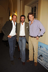 Left to right, RORY SWEET, HENRY COOKSON and RUPERT LONGSDON at a lecture about a record-breaking trip by Kiting to the Centre of Antarctica by Henry Cookson, Rupert Longsdon and Rory Sweet held at the Royal Geographical Society on 31st October 2007.<br /><br />NON EXCLUSIVE - WORLD RIGHTS