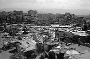 A general view of the Shatila refugee camp. The UN camp is the constructed mass before the horizon. 40000 square meters (200m x 200m) of anarchic constructions and concrete  buildings...<br />  <br /> Une vue g&eacute;n&eacute;rale sur le camp de Chatila. Le camp des Nations unis est la masse construite apr&egrave;s le bidonville. 40000 m&egrave;tres carr&eacute;s de constructions en b&eacute;ton.