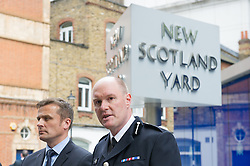 © London News Pictures. 19/05/15. London, UK. From L to R: Detective Superintendent Craig Turner, Head of the Flying Squad and Commander Peter Spindler of the Metropolitan Police announce that several arrests have been made in relation to the Hatton Garden burglary, New Scotland Yard, Central London. Photo credit: Laura Lean/LNP/05/15.