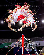 Kevin Lytwyn performs on the high bar during the individual apparatus artistic gymnastics competition at the SSE Hydro during the XX Commonwealth Games in Glasgow, Scotland on August 1, 2014.
