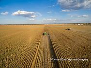 63801-08705 Corn Harvest, John Deere combine harvesting corn - aerial Marion Co. IL