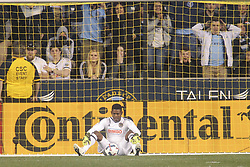 April 14, 2017 - Chester, PA, United States of America - Philadelphia Union Keeper ANDRE BLAKE (1) looks at the ball in disbelief after New York City FC Attacker DAVID VILLA (7)  scored in the 90th minute in the second half of a Major League Soccer match between the Philadelphia Union and New York City FC Friday, Apr. 17, 2016 at Talen Energy Stadium in Chester, PA. (Credit Image: © Saquan Stimpson via ZUMA Wire)