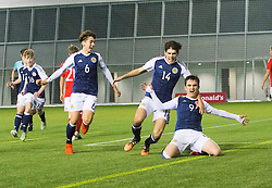 Scotland's Jamie Semple (9) cele scoring their first goal. half time : Scotland 2 v 0 Wales, Under 16 Victory Shield, Oriam 1/11/2016.