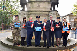 © Licensed to London News Pictures. 31/10/2017. London, UK.  Mayor of London, Sadiq Khan, joins uniformed service personnel at the War Memorial outside Euston Station in support of the Royal British Legion's London Poppy Day campaign.  The annual London Poppy Day Appeal sees 2,500 service personnel, veterans and volunteers trying to raise GBP1m in a single day.  Photo credit: Stephen Chung/LNP