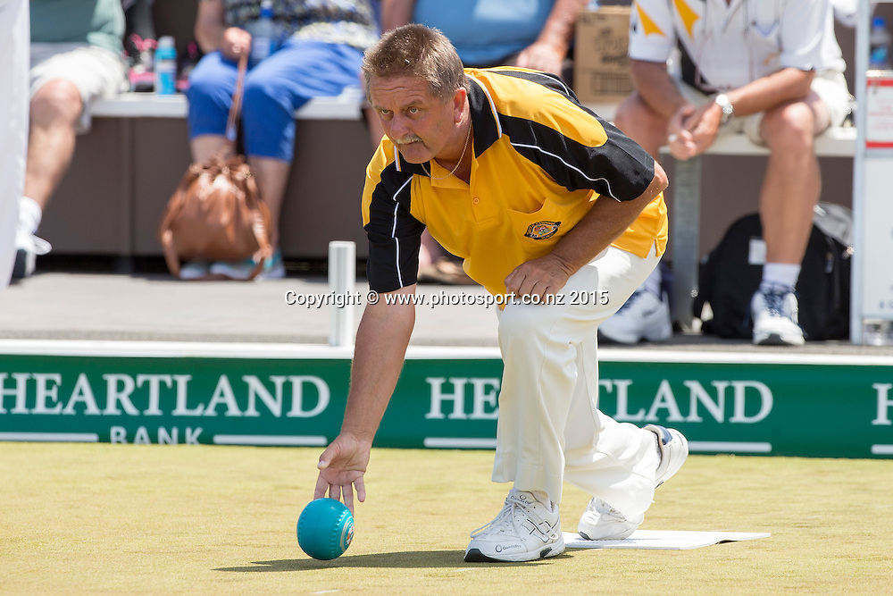 Carlton Cornwall`s Rob Ashton bowls in the men`s pairs final at the National Open Bowls Championship 2014, Browns Bay Auckland, New Zealand, Sunday, January 04, 2015. Photo: David Rowland/www.photosport.co.nz