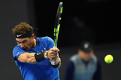BEIJING, Oct. 3, 2017  Rafael Nadal of Spain returns the ball during the men's singles first round match against Lucas Pouille of France at 2017 China Open tennis tournament in Beijing, capital of China, Oct. 3, 2017. Nadal won 2-1. (Credit Image: © Ju Huanzong/Xinhua via ZUMA Wire)