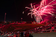 A general view of Hammond Stadium during a post-game fireworks display after a spring training game between the Pittsburgh Pirates and the Minnesota Twins in Ft. Myers, Florida on March 13, 2013.