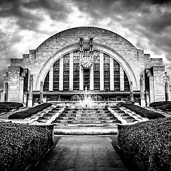 Cincinnati Museum Center black and white picture in Cincinnati, Ohio. Cincinnati Museum Center at Union Terminal is an Art Deco Historic Landmark that was originally the Cincinnati Union Terminal train station and was later converted into a museum. Photo Copyright © 2012 Paul Velgos with All Rights Reserved.