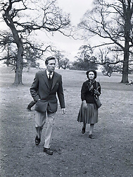 The EARL OF SNOWDON and HRH PRINCESS MARGARET at Badminton Horse Trials on April 13th 1962.
