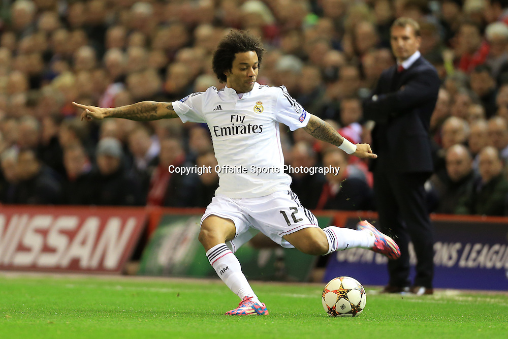 22nd October 2014 - UEFA Champions League - Group B - Liverpool v Real Madrid - Marcelo of Real - Photo: Simon Stacpoole / Offside.