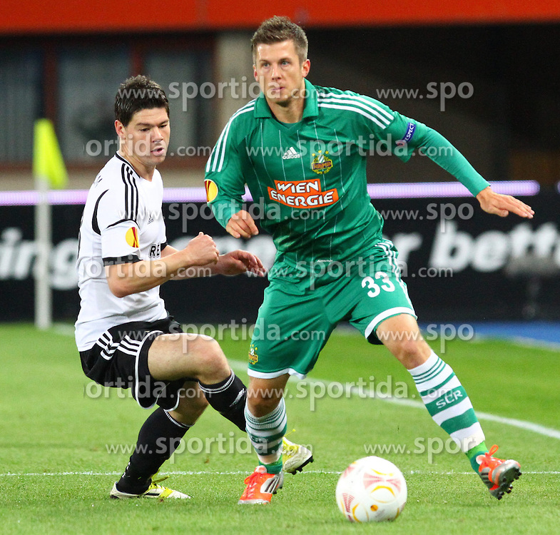 20.09.2012, Ernst Happel Stadion, Wien, AUT, UEFA Europa League, SK Rapid Wien vs Rosenborg Trondheim, Gruppe K, im Bild Daniel Fredheim Holm, (Rosenborg Trondheim, #28) und Deni Alar, (SK Rapid Wien, #33) // during the UEFA Europa League group K match between SK Rapid Vienna and Rosenborg Trondheim at the Ernst Happel Stadion, Vienna, Austria on 2012/09/20. EXPA Pictures © 2012, PhotoCredit: EXPA/ Thomas Haumer