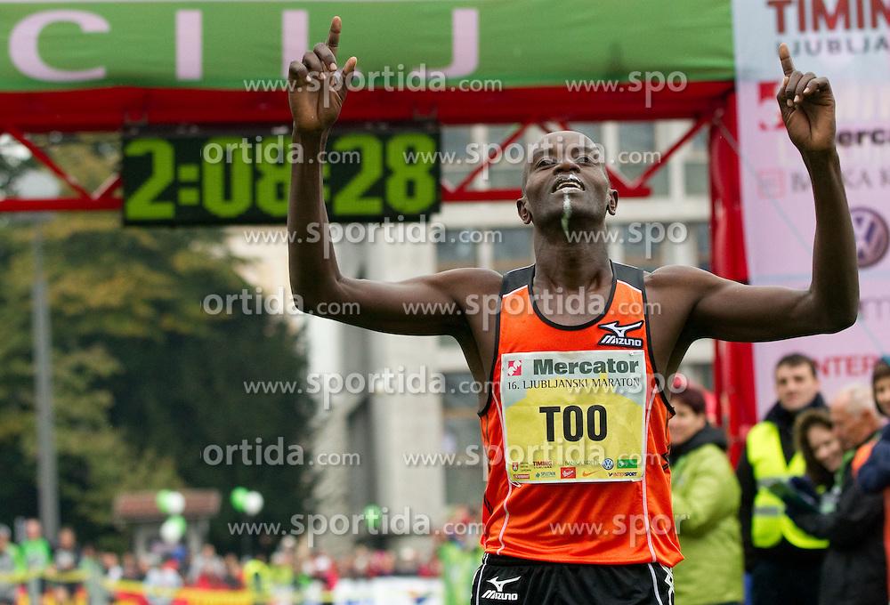 Winner Daniel Too of Kenya celebrates during 16th International Ljubljana Marathon 2011 on October 23, 2011, in Trg republike, Ljubljana, Slovenia.  (Photo by Vid Ponikvar / Sportida)