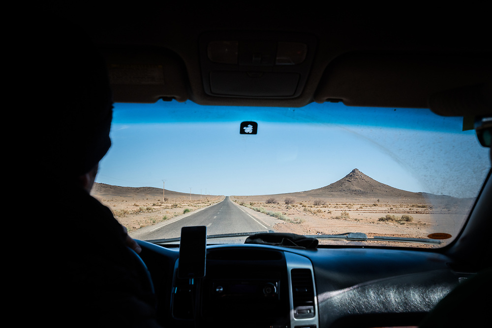 9 January 2018, Sahara Desert, Morocco: Driving to the dunes of Erg Chebbi, one of Morocco's two Saharan seas of sand dunes, formed by the wind. The dunes of Erg Chebbi reach a height of up to 150 meters in places and altogether it spans an area of 50 kilometers from north to south and up to 5–10 kilometers from east to west lining the Algerian border.