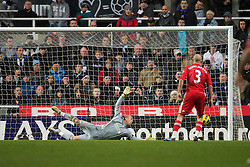 NEWCASTLE, ENGLAND - Saturday, December 11, 2010: Liverpool's goalkeeper Jose Reina is helpless to prevent Newcastle United's third goal during the Premiership match at St James' Park. (Photo by: David Rawcliffe/Propaganda)