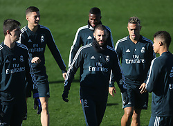 November 23, 2018 - Madrid, Spain - Real Madrid's French forward Karim Benzema (C) during last training session before the match of Liga Spanish against Eibar in Madrid, Spain, on 23 November 2018. (Credit Image: © Raddad Jebarah/NurPhoto via ZUMA Press)