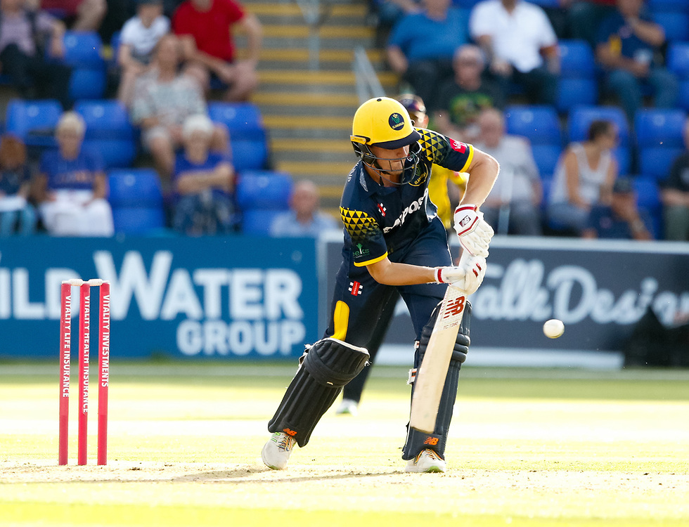 Glamorgan's Kieran Carlson in action today <br /> <br /> Photographer Simon King/Replay Images<br /> <br /> Vitality Blast T20 - Round 8 - Glamorgan v Gloucestershire - Friday 3rd August 2018 - Sophia Gardens - Cardiff<br /> <br /> World Copyright © Replay Images . All rights reserved. info@replayimages.co.uk - http://replayimages.co.uk