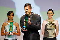 "20091207: RIO DE JANEIRO, BRAZIL - Brazilian Football Awards 2009 (""Craque Brasileirao 2009""), held at the Museum of Modern Art in Rio de Janeiro. In picture: Victor (Gremio) receives the Best Goalkeeper Award. PHOTO: CITYFILES"