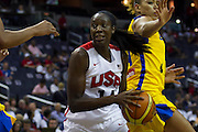 Team USA center Tina Charles in action during the 2012 USA Women's Basketball Team versus Brazil at Verizon Center in Washington, DC.  USA won 99-67.  July 16, 2012  (Photo by Mark W. Sutton)