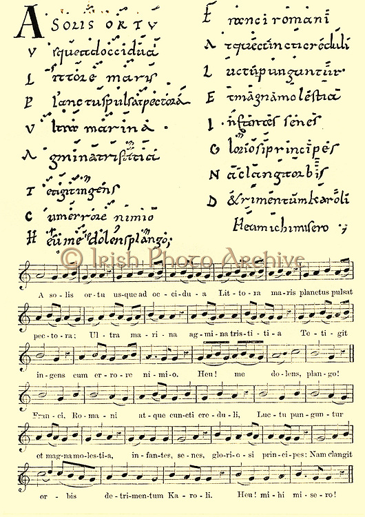 Musical Notation:  Lament written on the death of Charlemagne in 814 using Neumes or Meumes notation of the 7th to 11th centuries.  Below the facsimile of the 11th century score is a 'translation' using staff notation.