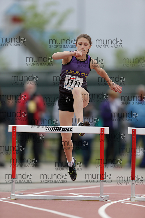 Nicole Conlin of Lo-Ellen Park SS - Sudbury competes in the intermediate hurdle heats at the 2013 OFSAA Track and Field Championship in Oshawa Ontario, Saturday,  June 8, 2013.<br /> Mundo Sport Images/ Geoff Robins