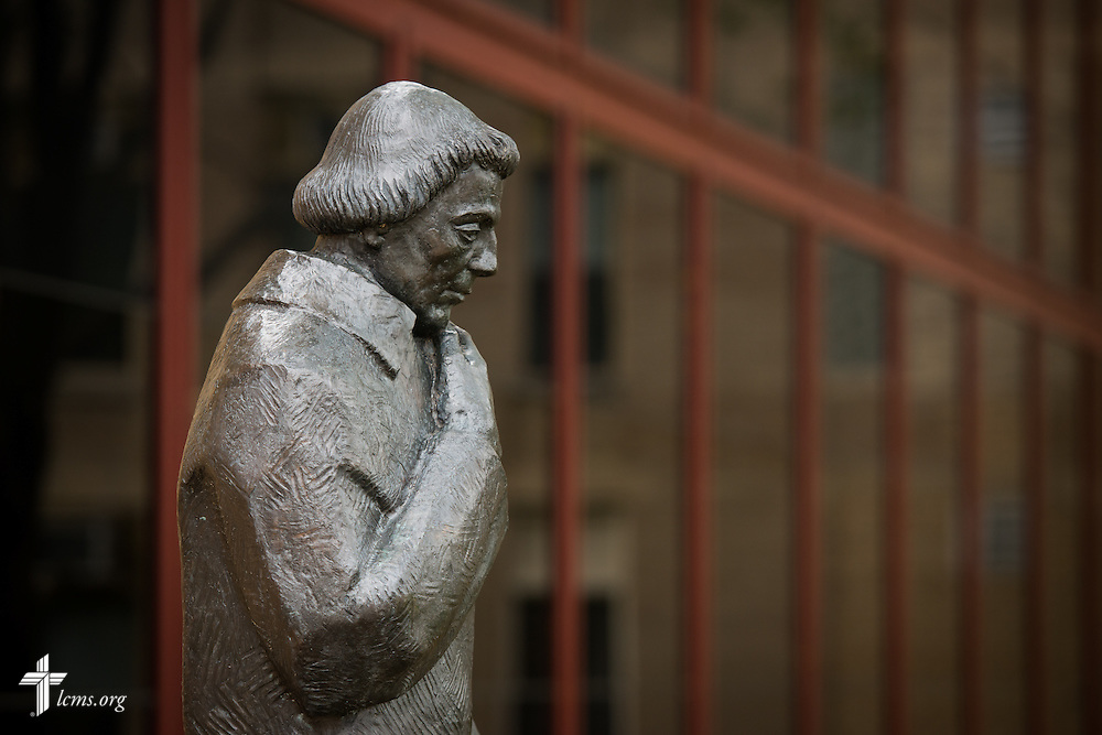 A sculpture of Martin Luther adorns the campus of Concordia University Chicago, near the Chapel of Our Lord on the university campus in River Forest, Ill., on Sunday, Oct. 12, 2014. LCMS Communications/Erik M. Lunsford