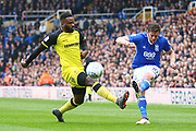 Birmingham's Lukas Jutkiewicz and Burton Albion's Darren Bent during the EFL Sky Bet Championship match between Birmingham City and Burton Albion at St Andrews, Birmingham, England on 7 April 2018. Picture by John Potts.