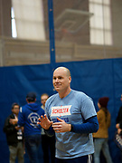 12 DECEMBER 2019 - DES MOINES, IOWA: JD Scholten before a basketball game with Andrew Yang in the gym in the Ames, IA, City Hall. Yang, an entrepreneur, is running for the Democratic nomination for the US Presidency in 2020. He brought bus tour to Ames, IA, Thursday. Iowa hosts the the first election event of the presidential election cycle. The Iowa Caucuses will be on Feb. 3, 2020.                      PHOTO BY JACK KURTZ