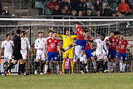 Bonnyrigg White Eagles Forward Aaron Peterson (9) has a shot at goal at the FFA Cup Round 16 soccer match between Bonnyrigg White Eagles FC v Western Sydney Wanderers FC at Marconi Stadium in Sydney.