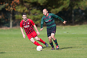 Fintry (red) v Hawkhill Athletic (green and black) in the Dundee Saturday Morning Football League at Riverside
