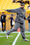 Pittsburgh Steelers quarterback Charlie Batch (16) points as he warms up before the NFL week 16 football game against the St. Louis Rams on Saturday, December 24, 2011 in Pittsburgh, Pennsylvania. The Steelers won the game in a 27-0 shutout. ©Paul Anthony Spinelli